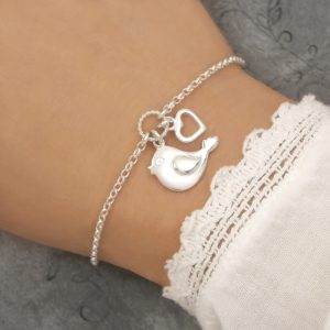 sterling silver bird bracelet swj264