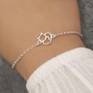 sterling silver cat bracelet swj237
