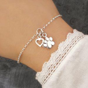 cat paw bracelet sterling silver swj229