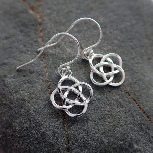 celtic knot drop earrings sterling silver swje104