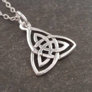 sterling silver celtic trinity knot charm necklace swj68