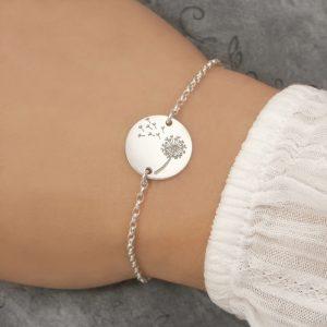 sterling silver dandelion bracelet swj238