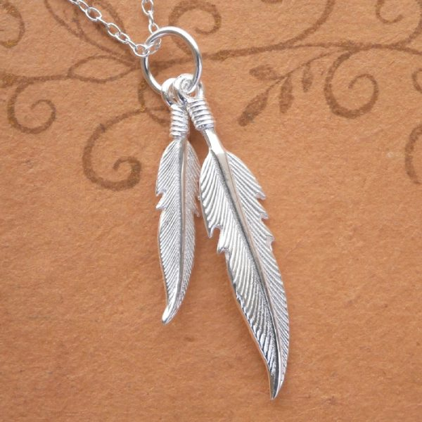 sterling silver double angel feather necklace swj34 2
