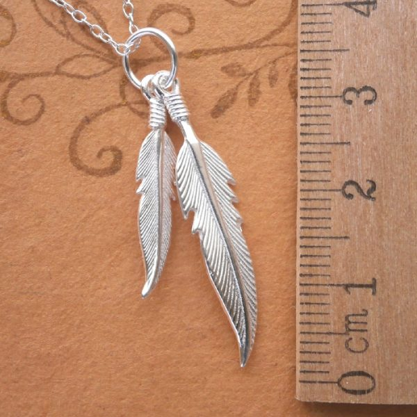 sterling silver double angel feather necklace swj34 3