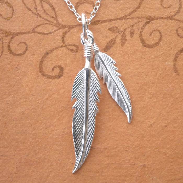Double Feather Pure Sterling Silver Necklace   Pendant
