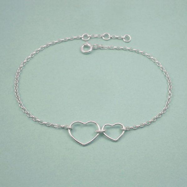 sterling silver double heart bracelet swj269 2