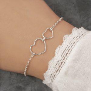 sterling silver double heart bracelet two heart bracelet swj269