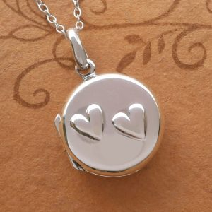 sterling silver double heart round locket necklace swj22