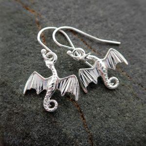 sterling silver dragon earrings swje120