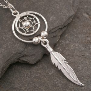 sterling silver dream catcher necklace swj72