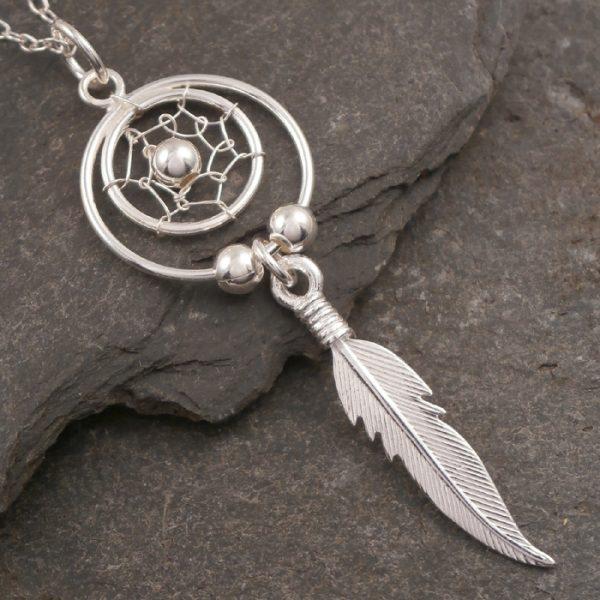 sterling silver dream catcher necklace swj72