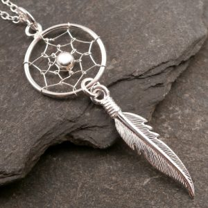 sterling silver dreamcatcher necklace swj74