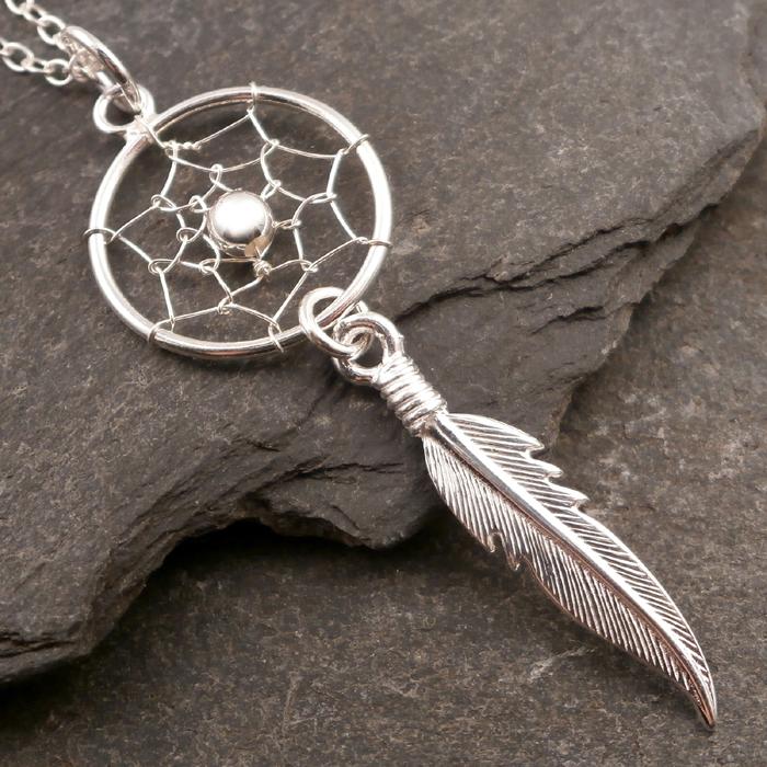 Sterling silver dreamcatcher necklace silver willow jewellery sterling silver dreamcatcher necklace swj74 aloadofball Images