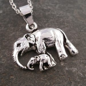 sterling silver elephant and baby necklace swj52
