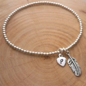 sterling silver feather charm bead bracelet initial swj129 2