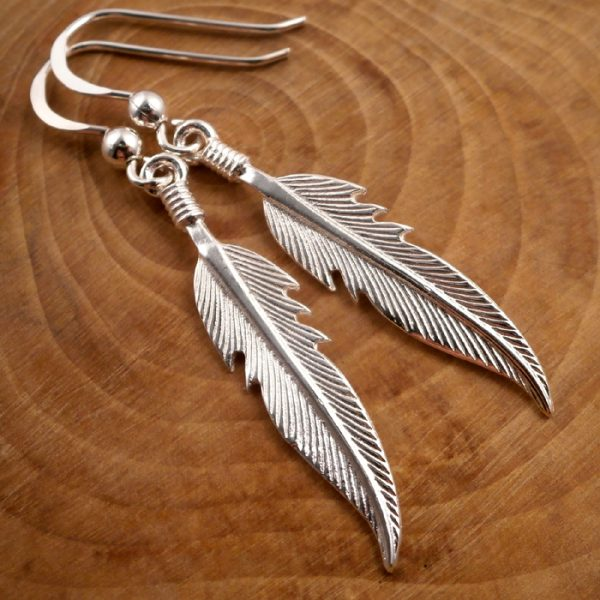 sterling silver feather drop earrings swj79 3