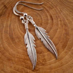 sterling silver feather drop earrings swj79