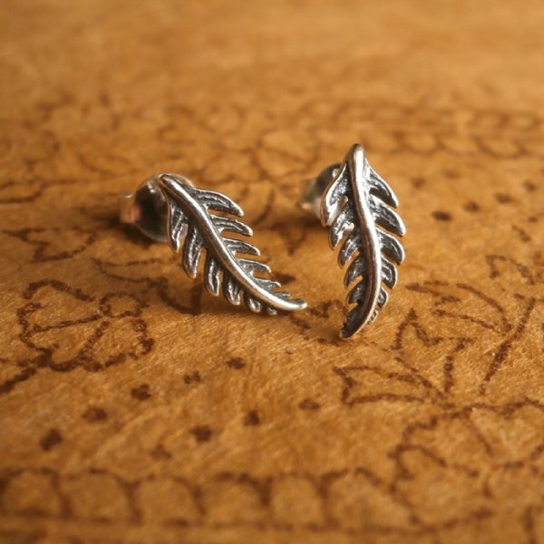 sterling silver feather stud earrings swj05