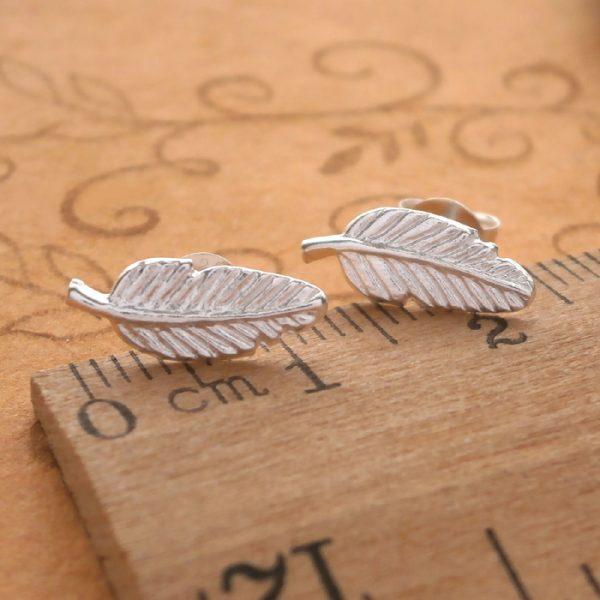 sterling silver feather stud earrings swj42 2