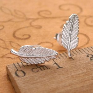 sterling silver feather stud earrings swj42