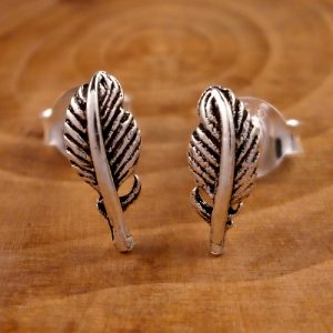 sterling silver feather stud earrings swj56