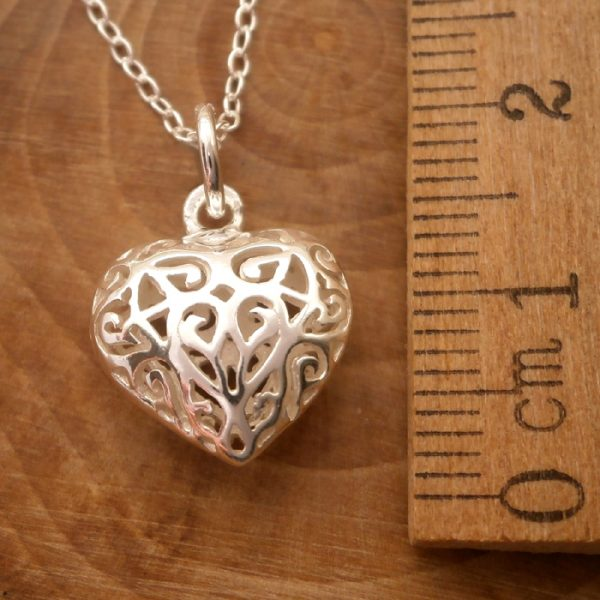 sterling silver filigree heart necklace swj114 2