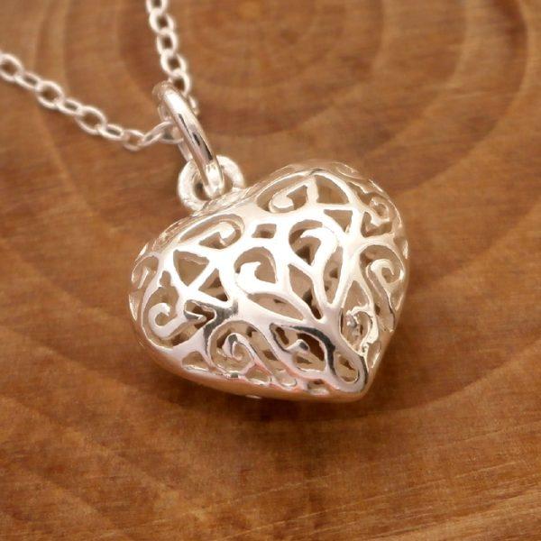 sterling silver filigree heart necklace swj114