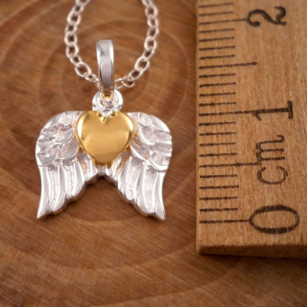 sterling silver gold heart angel wing necklace swj7 3