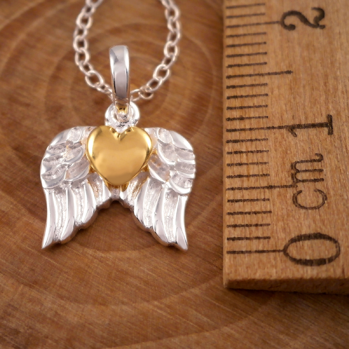 Sterling Silver Gold Heart Angel Wings Necklace Silver