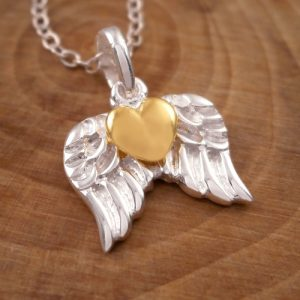 sterling silver gold heart angel wing necklace swj7