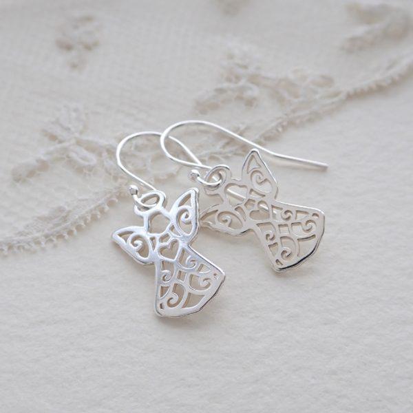 sterling silver guardian angel earrings swje121 2