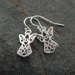 sterling silver guardian angel earrings swje121