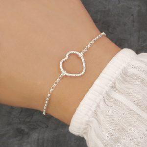 sterling silver heart bracelet swj218