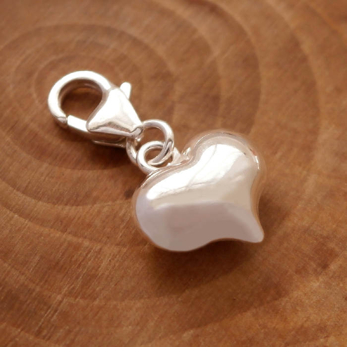 Sterling Silver Clip On Heart Charm Silver Willow Jewellery