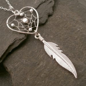 sterling silver dream catcher heart necklace swj84