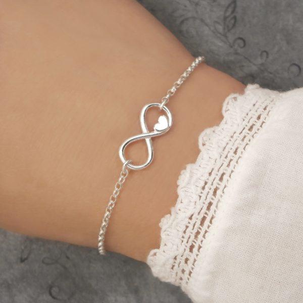 sterling silver infinity heart bracelet swj150
