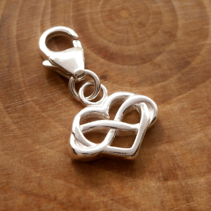 Sterling Silver Clip On Infinity Heart Charm Silver