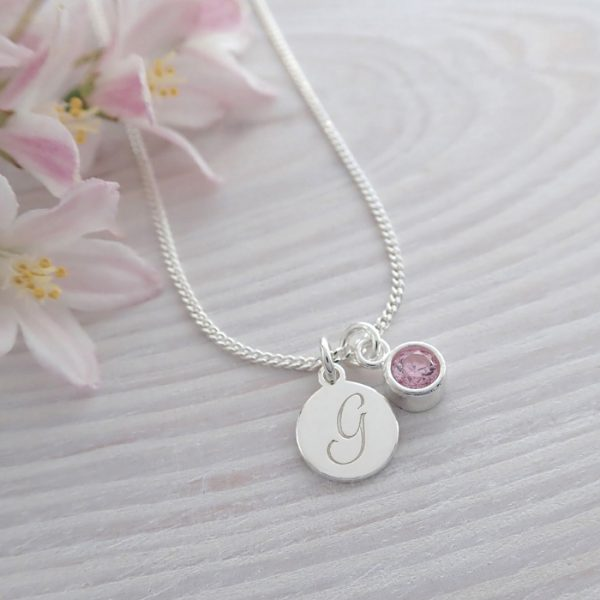 sterling silver initial birthstone necklace alexandrite swj102 7