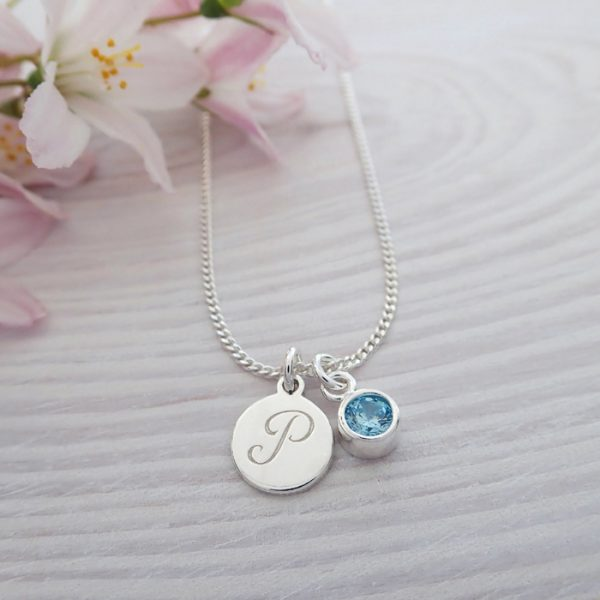 sterling silver initial birthstone necklace aquamarine swj102 8