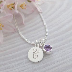 sterling silver personalised initial birthstone necklace swj102 1