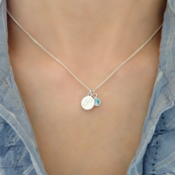sterling silver initial birthstone necklace swj102 3