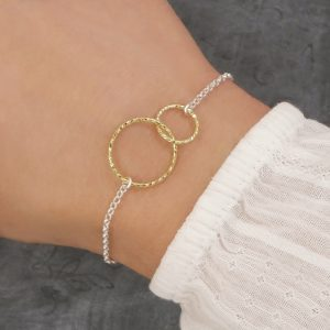 sterling silver interlocking circles bracelet gold swj213