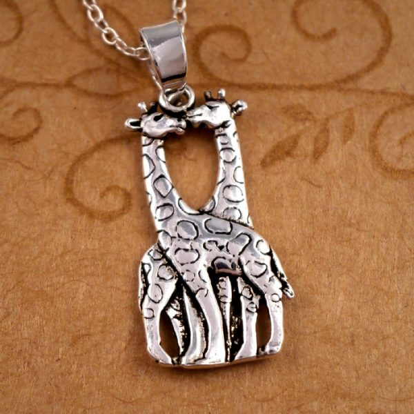 sterling silver kissing giraffes necklace swj63 2