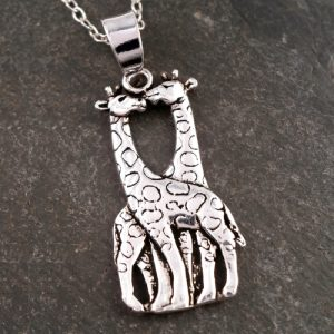 sterling silver giraffe necklace swj63