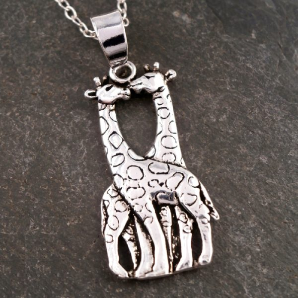 sterling silver kissing giraffes necklace swj63