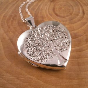 sterling silver large tree of life heart locket necklace swj23