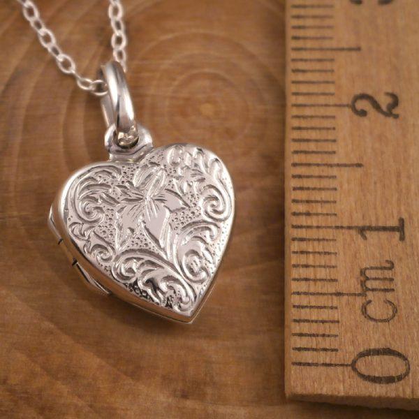 sterling silver lily heart locket necklace swj91 2