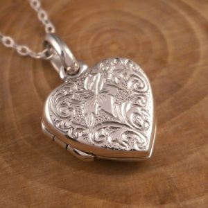 sterling silver lily heart locket necklace swj91
