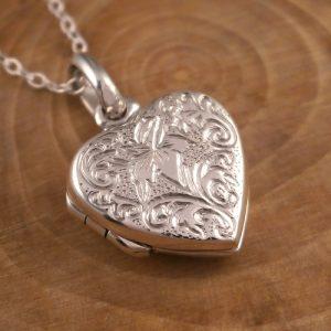 sterling silver lily heart locket necklace swj91