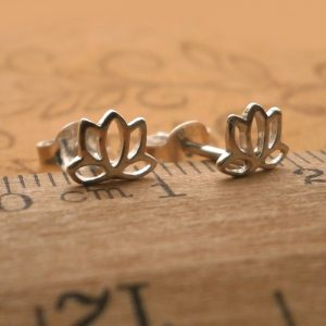 silver lotus earrings swj35 2